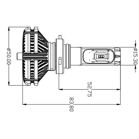 Набір світлодіодного головного світла UP-X3HL-9006W(HB4) (6000 лм) Прев'ю 1