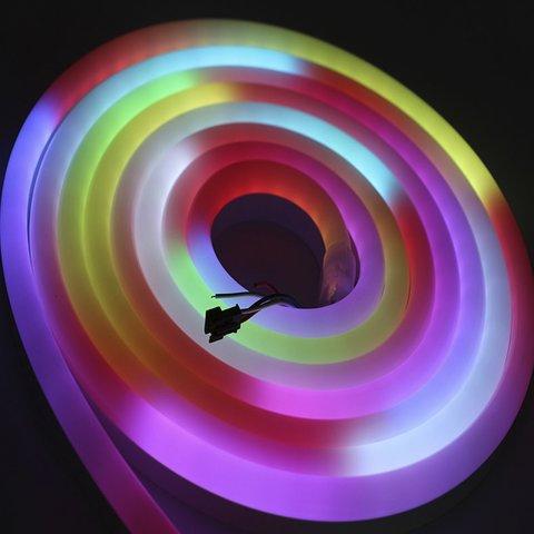 Світлодіодна стрічка RGB SMD5050, WS2811 (гнучка, неонова, U-форма, з управлінням, ІР67, 12 В, 60 діодів/м, 5 м) Прев'ю 3